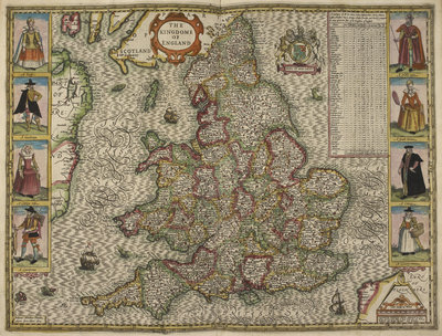 Map of the Kingdom of England by Christopher Saxton - print