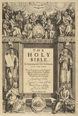 Title page of the King James Bible by C Boel - print