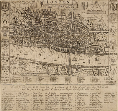 Map of the City of London, 1593 by John Norden - print