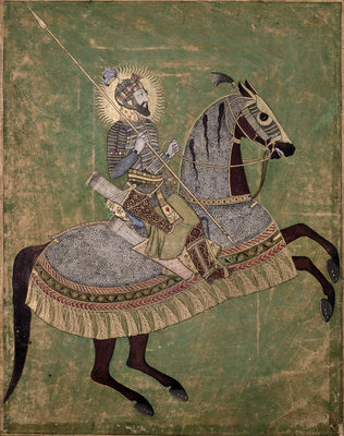 Emperor Aurangzeb on horseback by Anonymous - print