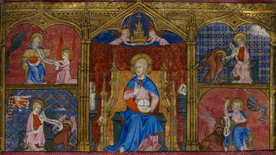 God and the four Evangelists by Anonymous - print