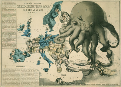Serio-Comic War Map for the year 1877 by Fred W Rose - print