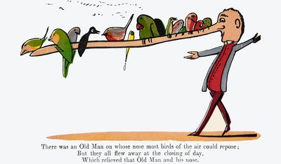 There was an Old Man on whose nose by Edward Lear - print