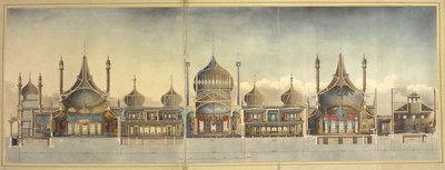 A cross section of the Royal Pavilion at Brighton by John Nash - print