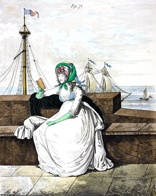 Georgian fashion: a lady reading by the sea by Anonymous - print