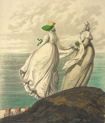 Two ladies by the sea by Anonymous - print
