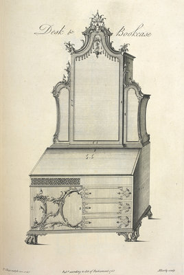 Chippendale desk and bookcase by Thomas Chippendale - print