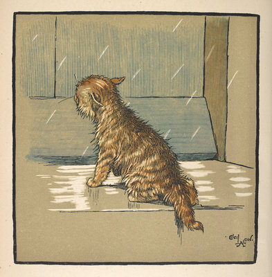 Kitten out in the rain by Cecil Aldin - print