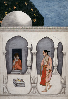 A lady visiting a shrine by Muhammad Faqirallah Khan - print