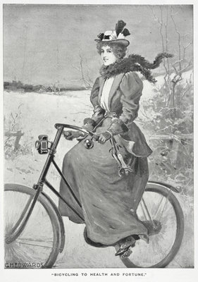 Bicycling to health and fortune by G H Edwards - print