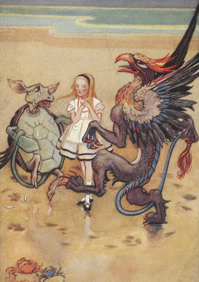 Alice dancing with the mock turtle and gryphon by Gwynedd M Hudson - print