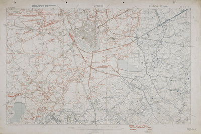Map of the First World War: Ypres by Anonymous - print
