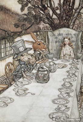 Alice at the tea party by Arthur Rackham - print