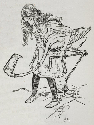 Alice playing croquet with a flamingo by Arthur Rackham - print