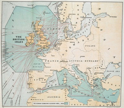 The German submarine blockade area by Anonymous - print