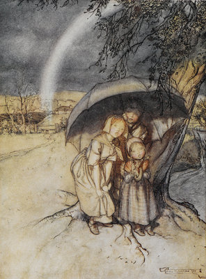 Rain, rain go to Spain print by Arthur Rackham - print