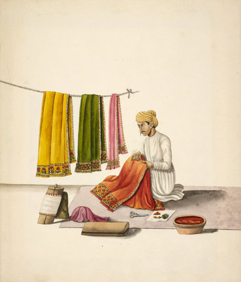 Shawl embroiderer Poster Art Print by Anonymous