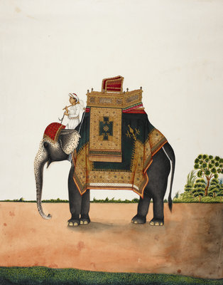 An elephant bearing a howdah Poster Art Print by Anonymous