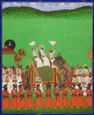 Maharana Fateh Singh of Udaipur atop an elephant by Shivalal - print