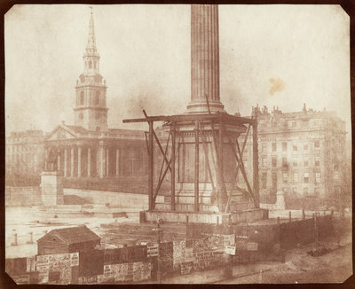 Nelson's Column under construction in Trafalgar Square - April 1844 Fine Art Print by Henry Fox Talbot