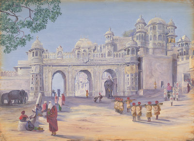 Gate of the Palace at Oodipore. Janr. 1879 by Marianne North - print