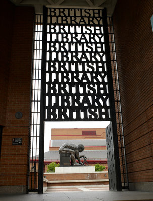 British Library portico and Newton statue by The British Library - print