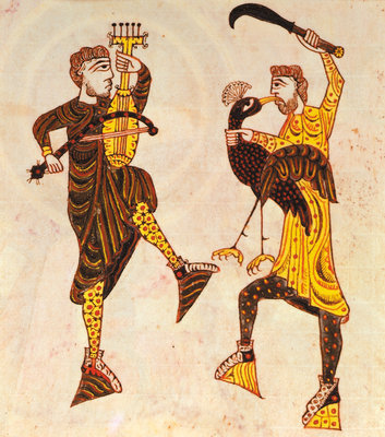 Dancing men with a sword and bird by Anonymous - print