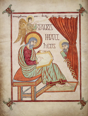St Matthew in the Lindisfarne Gospels by Eadfrith - print
