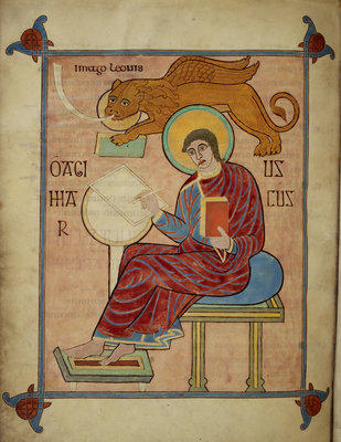 St Mark in the Lindisfarne Gospels by Eadfrith - print