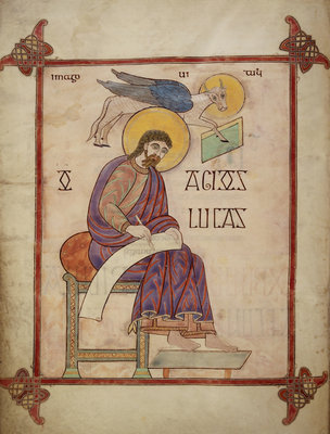 St Luke in the Lindisfarne Gospels by Eadfrith - print