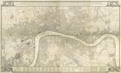 Rocque map of London 1745 by John Rocque - print