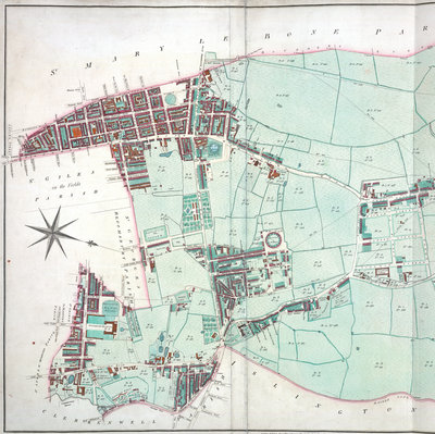 Thompson map of the parish of St Pancras, 1804 by J Thompson - print