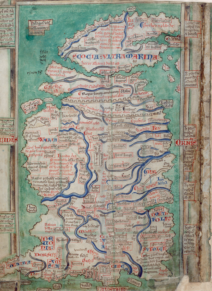 Map Of Great Britain By Matthew Paris British Library Prints - Map of great britain
