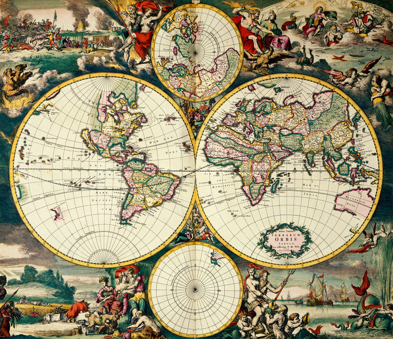 World map by frederick de wit british library prints world map by frederick de wit print sciox Images
