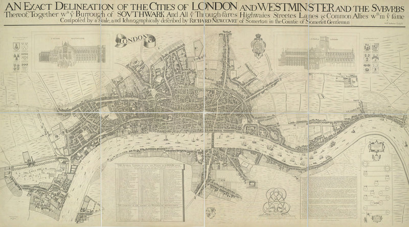 A Map Of The Cities Of London And Westminster By Richard Newcourt - London map 1600