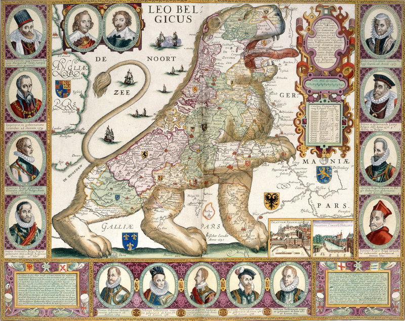 Leo Belgicus Map Of Holland By Nicolaes Visscher British Library - 17th century world map