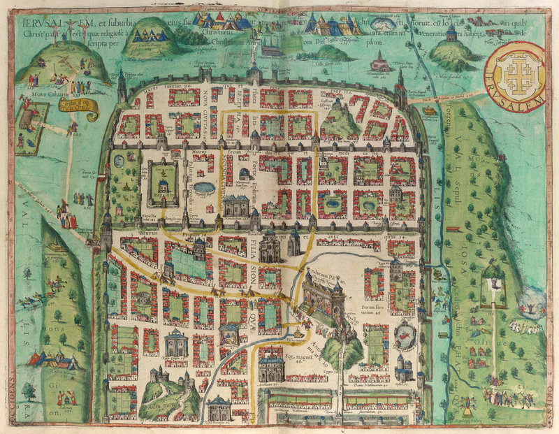 Map Of Jerusalem By Georg Braun British Library Prints - Jerusalem on world map