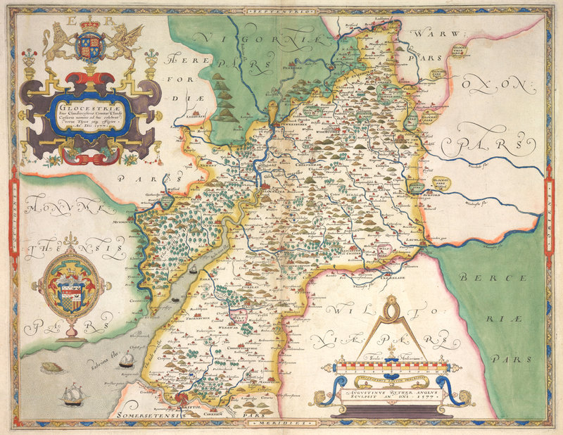 Map of Gloucestershire by Christopher Saxton  British Library Prints