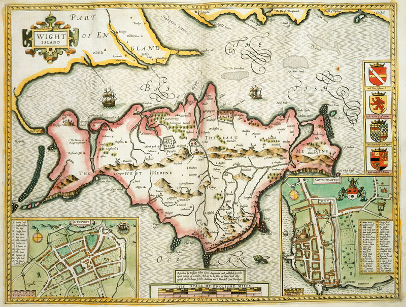 Map Of The Isle Of Wight By John Speed British Library Prints - Map of iow