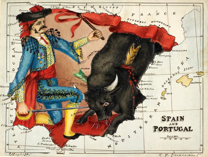Cartoon Map Of Spain And Portugal By Lillian Lancaster British - Portugal map to print