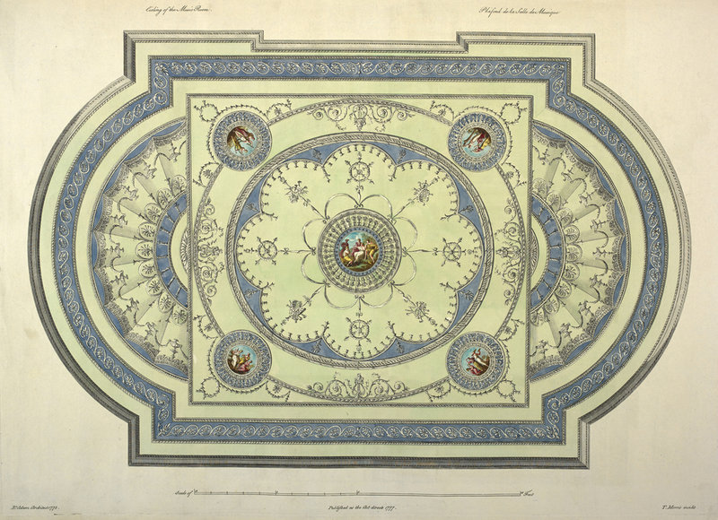 Music room ceiling by Robert Adam - British Library Prints