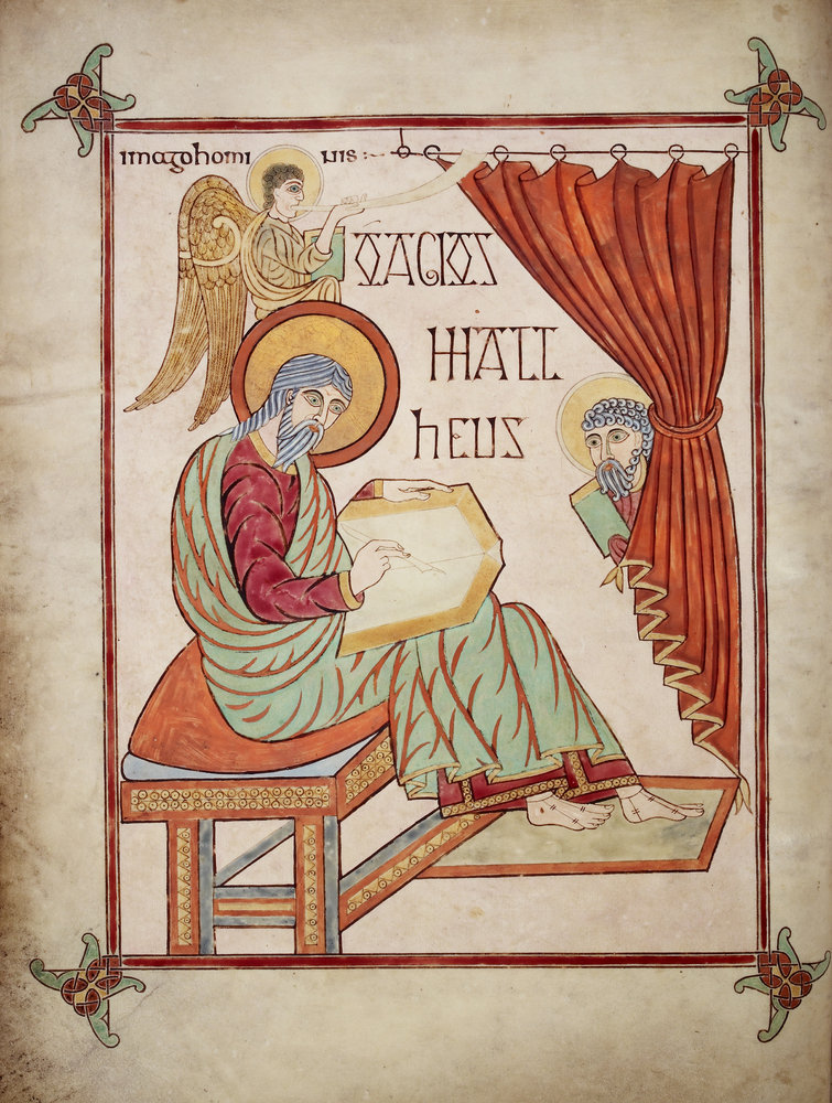St Matthew in the Lindisfarne Gospels by Eadfrith ...