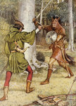 Robin Hood and Guy of Gisborne fighting by J. Ayton Symington - print