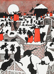 A Black Cat Holiday by Louis Wain - print