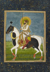 Shah Jahan riding a piebald stallion