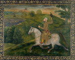 Allahvardi Khan out hawking, c.1660 by Anonymous - print