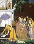 A princess watching a maid killing a snake by Rai Anup Chattar - print