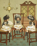 Three little girls sitting on chairs by H Hoffmann - print