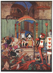 The King and Queen of Hearts upon their throne at court by Charles Lutwidge Dodgson - print