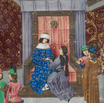 Wavrin presenting his chronicle to Edward IV by Jean de Meun - print